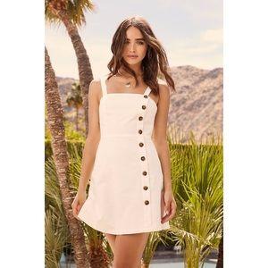 LULU'S Louetta White Button-Down Mini Dress